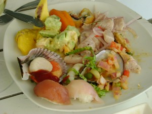 Mixed plate of conchitas, camote, ceviche and salad, Punto Blanco
